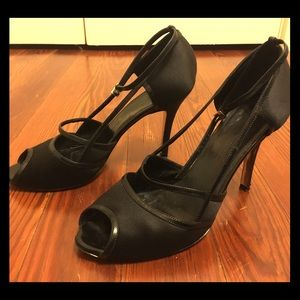MaxMara peep-toe strappy black pumps